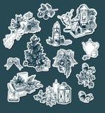 Set elegancki retro stylowy majcherów bożych narodzeń nowy rok graweruje wektorowych projektów elementy obraz royalty free
