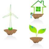 Set of elegant 3D eco symbols. Vector set of elegant 3D eco symbols Stock Image
