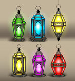 Set of Elegant Arabic or Islamic Lantern Stock Images