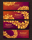 Set of elegant banners with golden royal ornament. Luxury collection Stock Image