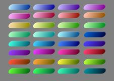Set of elegant blank buttons with highlight effect in vivid colors. Website navigation elements, 3d rectangle button collection. Vector EPS 10 Stock Photos