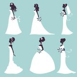 Set of elegant brides in silhouette Royalty Free Stock Photography