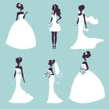Set of elegant brides in silhouette Stock Photography
