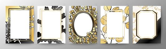 Set of elegant brochure, card, cover. Black and golden marble texture. Geometric frame. Botanical art. stock photography