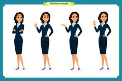 Set of elegant business women in formal clothes.Base wardrobe, feminine corporate dress code. Woman in office clothes.Different poses,emotions, gestures Stock Photos