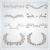 Set of elegant calligraphic foliate borders Royalty Free Stock Photo