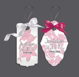 Set of elegant cards with pink silk ribbons and flowers on the background Stock Photo