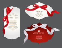 Set of elegant cards with silk ribbons Royalty Free Stock Images