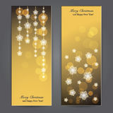 Set of Elegant Christmas banners with stars. Stock Photo