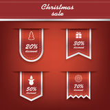 Set of elegant Christmas vertical ribbon tags with Stock Photo