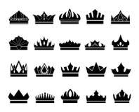 Set of elegant crown icons on white background royalty free illustration