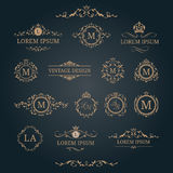 Set of elegant floral monograms and decorative elements. Elegant floral monograms and decorative elements. Design templates for invitations, menus, labels Royalty Free Stock Photos