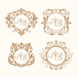 Set of elegant floral monograms Stock Photography