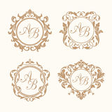 Set of elegant floral monograms Royalty Free Stock Images