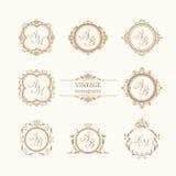 Set of elegant floral monograms Stock Image