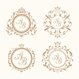 Set of elegant floral monograms. Set of elegant floral monogram design templates for one or two letters . Wedding monogram. Calligraphic elegant ornament Royalty Free Stock Photo