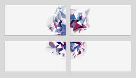 Four elegant geometric abstract banners with glitch effect. Distorted design elements on the light background. Set of elegant geometric abstract banners with Stock Photos