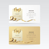 Vector set of elegant gift cards with golden bow, ribbon and paper shopping bag. Royalty Free Stock Photos