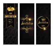 Set of elegant gold invitation cards Royalty Free Stock Photos