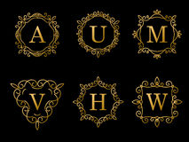 Set of elegant gold monogram design on black background. Vector Stock Image