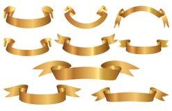 Set of elegant Golden ribbons. Vector Royalty Free Stock Photography