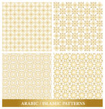 Set of Elegant Islamic or Arabic Seamless Patterns. In Gold Color in Classic Style Elements for Decoration or Background. Vector Illustration Royalty Free Stock Photography