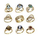 Set of elegant  jewelry rings Stock Photos