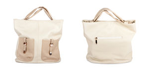 Set the elegant ladies beige handbag isolated Stock Image