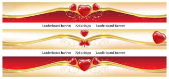 Set of elegant Leader board banners with hearts. Royalty Free Stock Image