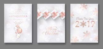 Set of Elegant Merry Christmas and New Year 2019 Cards with Christmas Balls, Stars, Snowflakes for greetings, invitation. Set of Elegant Merry Christmas and New stock illustration