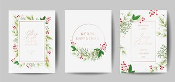 Set of Elegant Merry Christmas and New Year 2020 Cards with Pine Wreath, Mistletoe, Winter plants design illustration