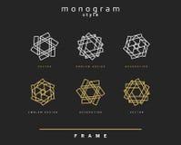 Set of elegant monogram.  Emblem design. Royalty Free Stock Photos