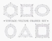 Set of elegant ornate floral design templates. Stock Photo