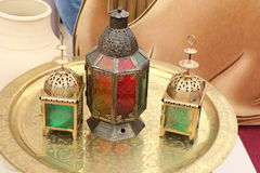 Set of Elegant Ramadan Kareem Lantern or Colorful Lights in Islamic Pattern on golden plate, DUBAI-UAE. 21 JULY 2017. Pattern Background for the Holy Month Royalty Free Stock Photo