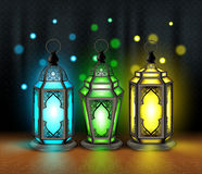Set of Elegant Ramadan Kareem Lantern or Fanous. With Colorful Lights in Islamic Pattern Background for the Holy Month Occasion of fasting. Editable Vector