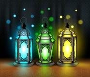 Set of Elegant Ramadan Kareem Lantern or Fanous Royalty Free Stock Photography
