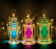Set of Elegant Ramadan Kareem Lantern or Fanous Stock Images