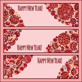Set of Elegant Red Christmas and Happy New Year banners Stock Images