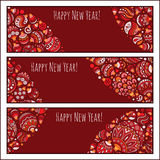 Set of Elegant Red Christmas and Happy New Year banners Stock Photography