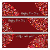 Set of Elegant Red Christmas and Happy New Year banners Stock Image