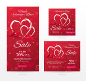 Vector set of elegant sale banners of different sizes for Happy Valentine`s day with heart shaped candy canes, red ribbon. Stock Images