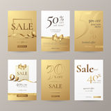 Vector set of elegant sale banners with golden bow, frame, ribbon and paper shopping bag. Royalty Free Stock Photography