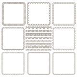 Set of elegant seamless borders and frames. Vector set of elegant seamless borders and frames Stock Images