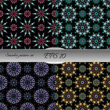 Set of elegant seamless patterns with floral and Mandala element Royalty Free Stock Image