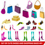 Set of elegant shoes and shopping bags Stock Photography
