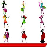 Set of elegant shopping girls Royalty Free Stock Photography