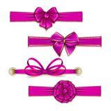 Set of elegant silk colored bows Stock Photo