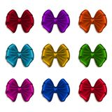 Set of elegant silk colored bows Stock Photos