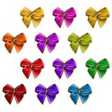 Set of elegant silk colored bows Stock Images