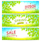 Set of elegant spring sale banners stock illustration